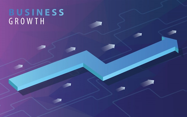 Conceito de crescimento de negócios com setas isométricas