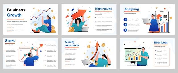 Conceito de crescimento de negócios para modelo de slide de apresentação homem de negócios e mulher de negócios