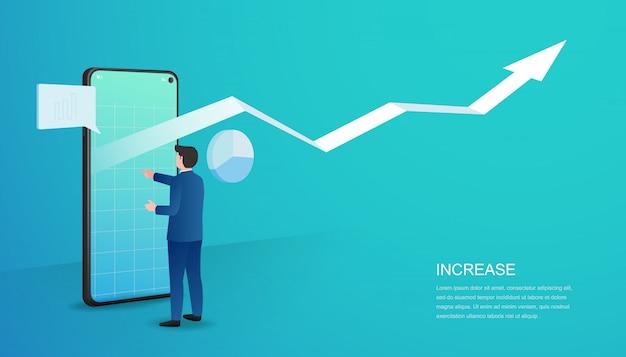 Conceito de crescimento do lucro comercial. aumento da taxa salarial de renda. ilustração vetorial