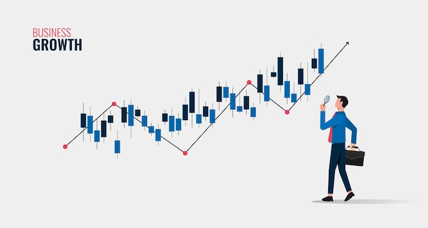 Conceito de crescimento do negócio com empresário segurando a lupa para analisar a ilustração do símbolo gráfico.