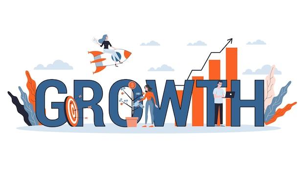Conceito de crescimento e progresso. ideia de aumento financeiro e sucesso empresarial. seta apontando para cima como símbolo de lucro. ilustração