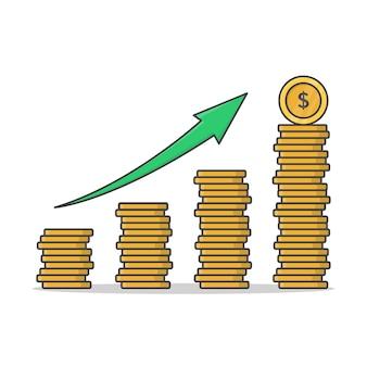 Conceito de crescimento financeiro com pilhas de ilustração de ícone de moedas de ouro. aumentar o ícone plano de pilhas de moedas