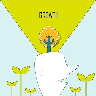 Conceito de crescimento: uma árvore crescendo a partir da cabeça de um homem em estilo de linha