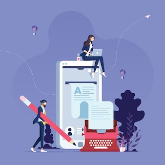 Conceito de criação de artigos de blog de escritor de conteúdo