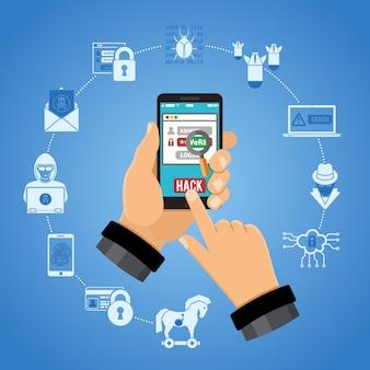 Conceito de crime cibernético. hacker segurando o telefone inteligente na mão e hacks a senha. ícones de estilo simples hacker, vírus, bug, spam e engenharia social. ilustração vetorial isolada