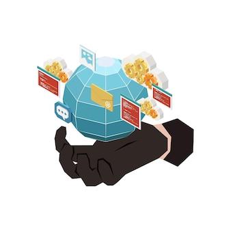 Conceito de crime digital com mão de hacker em luva preta e símbolos isométricos 3d