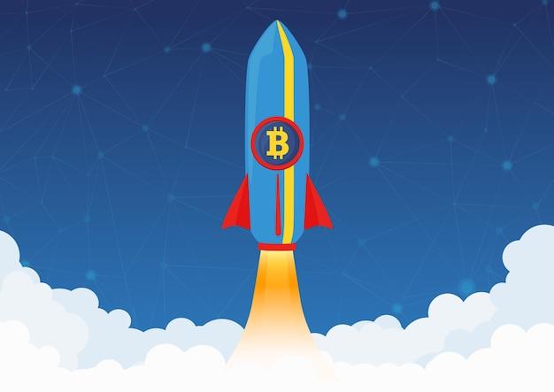 Conceito de criptomoeda bitcoin. foguete voando para a lua com o ícone do bitcoin. criptografia em alta no mercado.