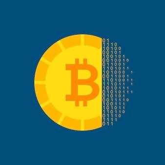 Conceito de criptomoeda bitcoin. ilustração vetorial com objetos de tecnologia financeira.