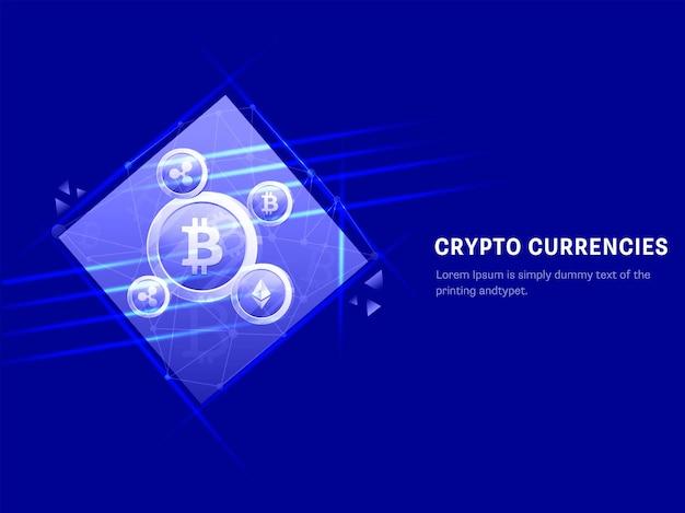 Conceito de criptomoeda com base em design de cartaz com moedas criptográficas e efeito de luzes sobre fundo azul.