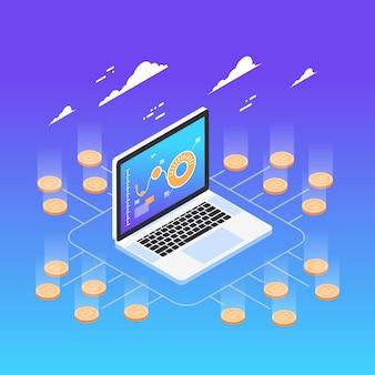 Conceito de criptomoeda com laptop