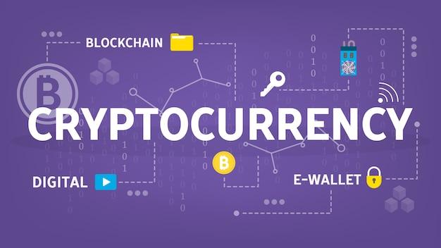Conceito de criptomoeda. idéia de blockchain e mineração
