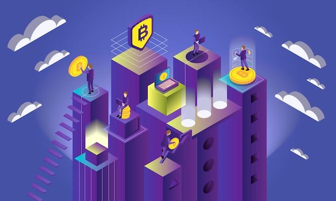 Conceito de criptomoeda isométrica com bitcoins e pessoas faz mineração ilustração em vetor 3d