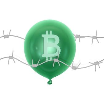 Conceito de crise de bitcoin perfurando ou estourando balão de bitcoin com uma agulha