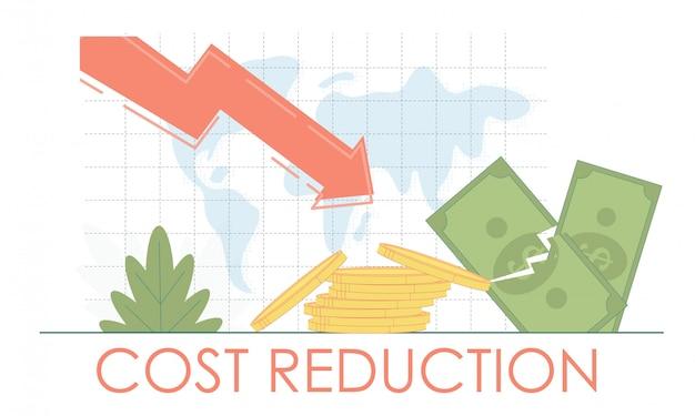Conceito de crise de economia financeira de redução de custos. queda de negócios de finanças.