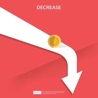 Conceito de crise de finanças empresariais. dinheiro cair símbolo.