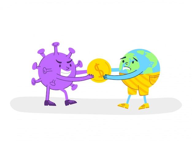 Conceito de crise econômica de coronavírus covid-19 - vírus irritado roubando moedas de ouro ou dinheiro do triste planeta terra
