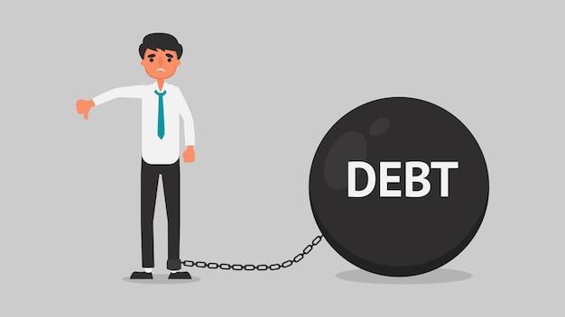 Conceito de crise financeira do empresário. jovem está preocupado com a dívida por causa do desemprego. ilustração de negócios plana