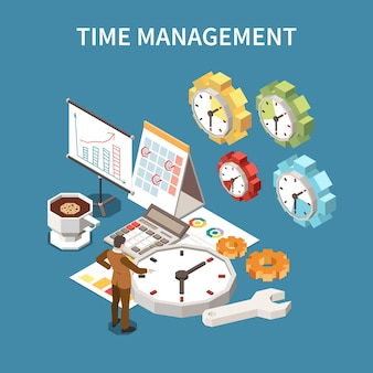 Conceito de cronograma de gerenciamento de tempo com ilustração isométrica de símbolos de prazo