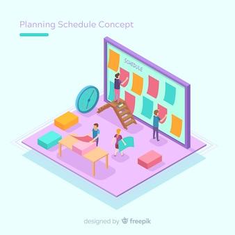 Conceito de cronograma de planejamento com perspectiva isométrica