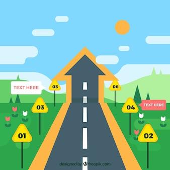 Conceito de cronograma infográfico com rua