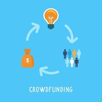 Conceito de crowdfunding vector em estilo simples