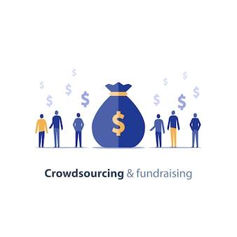 Conceito de crowdsourcing e captação de recursos, oportunidade de negócio inicial, finanças corporativas, grupo de pessoas