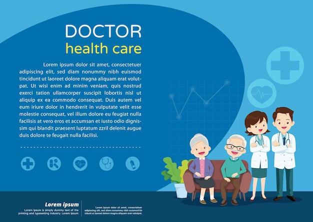 Conceito de cuidados a idosos, médico e pôster de plano de fundo de saúde para idosos