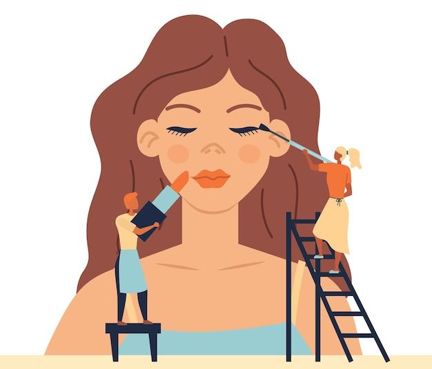 Conceito de cuidados com a pele do rosto, salão de beleza da moda com equipe profissional. personagens minúsculos fazem maquiagem para manequim de mulher.