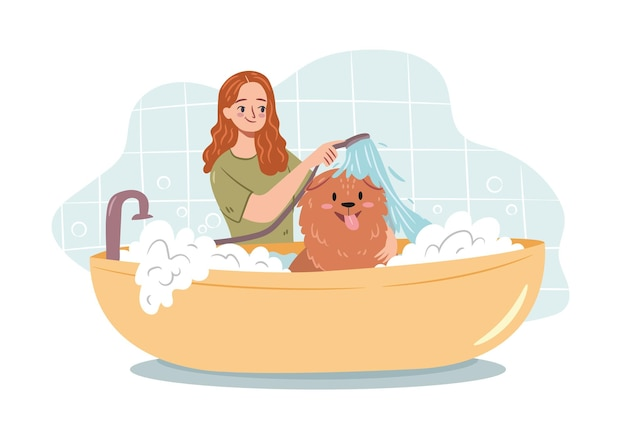 Conceito de cuidados com os cães mulher lavando um cachorro em uma banheira de espuma feliz dono do cachorro cuidando do animal de estimação