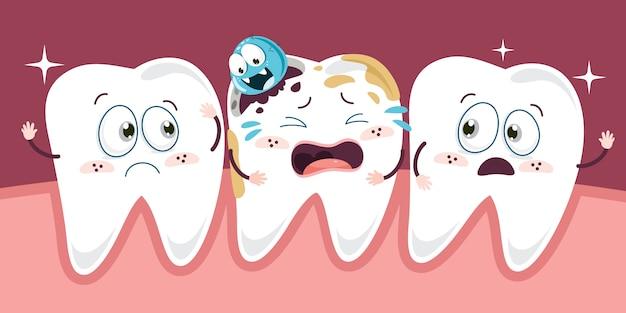 Conceito de cuidados de saúde dentes com personagens de desenhos animados