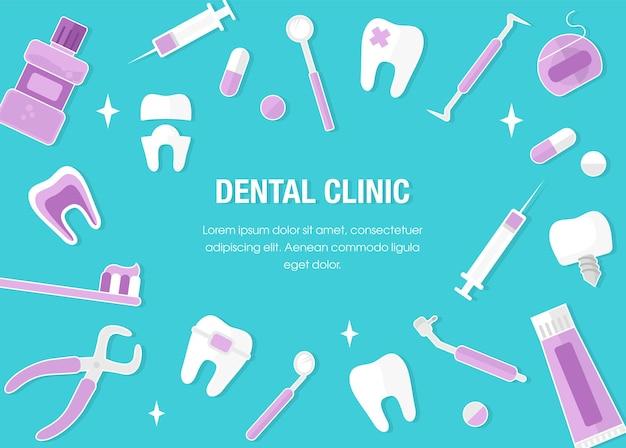 Conceito de cuidados de saúde e medicina. banner de odontologia com ícones lisos. quadro de conceito dental. dentes limpos saudáveis. ferramentas e equipamentos do dentista. estilo simples