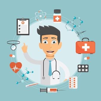 Conceito de cuidados de saúde e medicina Vetor Premium