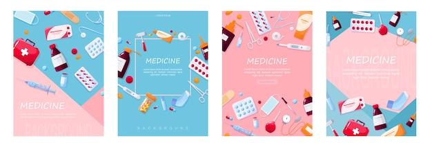 Conceito de cuidados de saúde e tratamento médico. recolha de medicamentos de farmácia. droga e pílula. conceito de kit de primeiros socorros. ilustração . conjunto de ilustração de pôster da web