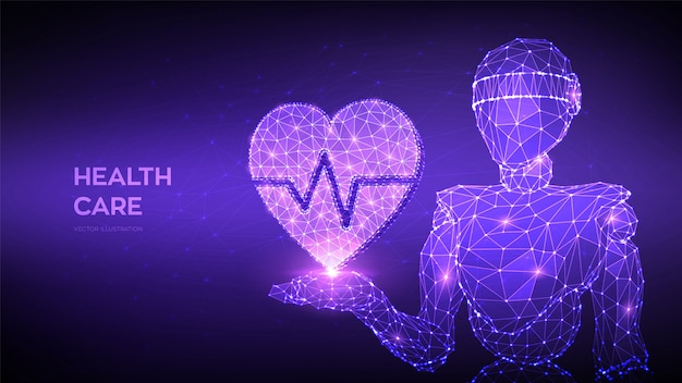 Conceito de cuidados de saúde, medicina e cardiologia. abstrato 3d baixo robô poligonal, segurando o ícone de um coração com linha de batimento cardíaco na mão.