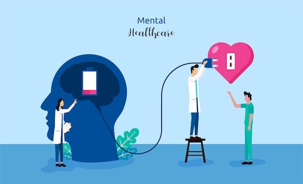 Conceito de cuidados de saúde mental com médicos dão tratamento para ilustração de símbolo de paciente.