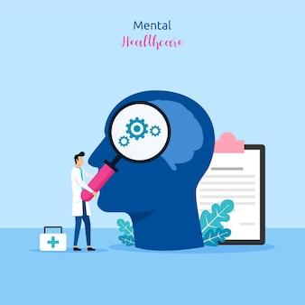Conceito de cuidados de saúde mental. médico, verificar e dar tratamento à ilustração vetorial de paciente.