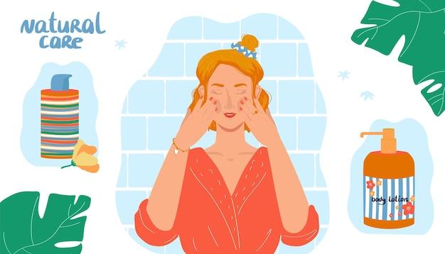 Conceito de cuidados naturais de beleza ilustração vetorial personagem de menina plana no espelho faz tratamento de pele de rosto em casa creme de loção corporal no design de garrafa