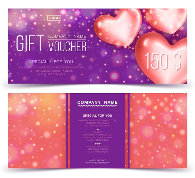Conceito de cupom de presente, banner, panfleto, bilhete de convite. dois lados do layout do voucher de desconto ou certificado de presente.