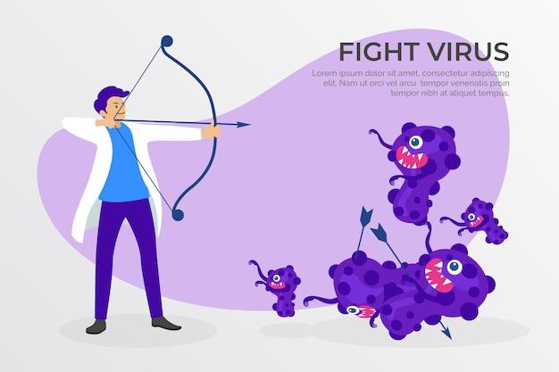 Conceito de cura de vírus com médico e arco