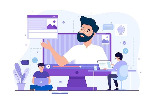 Lideran�a financeira e conceito de curso de gest�o, aterrissagem de  ilustra��o. educa��o empresarial para um trabalho bem-sucedido, treinamento  | Vetor Premium