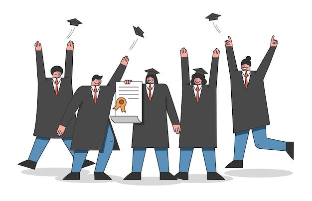 Conceito de cursos universitários e graduação. alunos comemoram o fim do treinamento na academia.