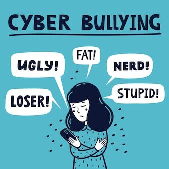 Conceito de cyber bulling garota triste lendo mensagens de texto abusivas em seu telefone
