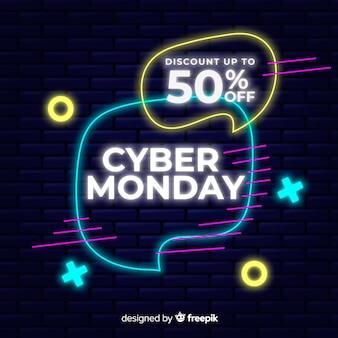 Conceito de cyber segunda-feira com design de néon
