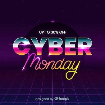Conceito de cyber segunda-feira com design futurista retrô
