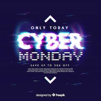 Conceito de cyber segunda-feira com efeito de falha