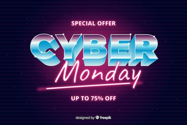 Conceito de cyber segunda-feira com estilo futurista retrô