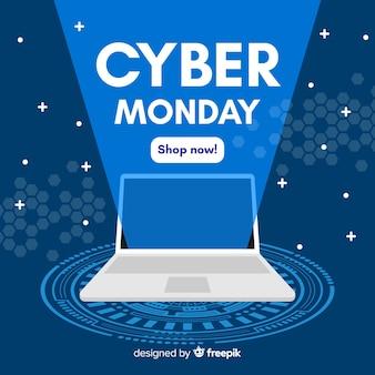 Conceito de cyber segunda-feira com fundo design plano