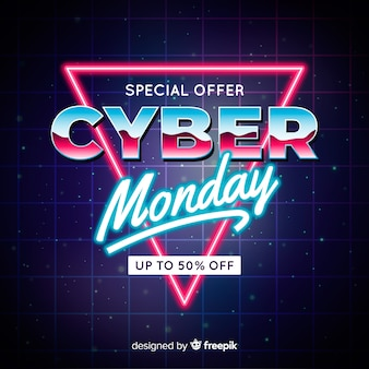 Conceito de cyber segunda-feira com fundo futurista retrô
