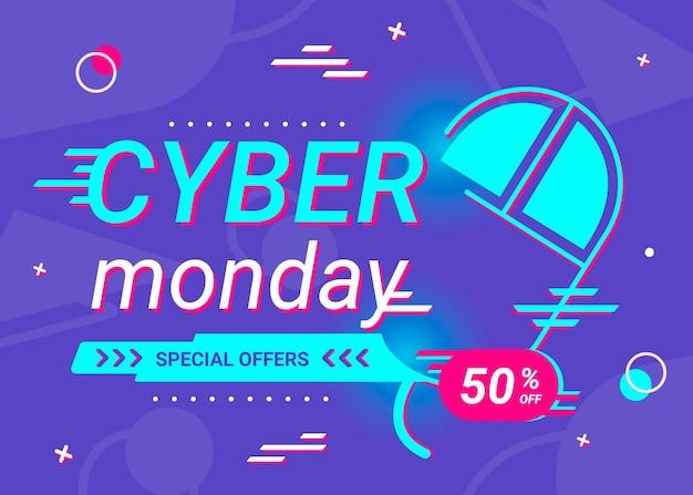 Conceito de cyber segunda-feira em design plano