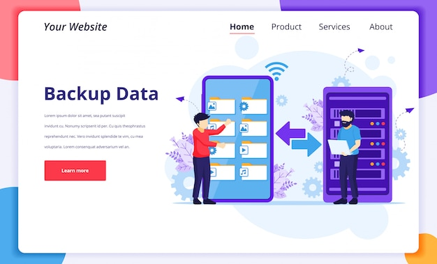 Conceito de dados de backup, pessoas copiando arquivos ou processo de transferência de arquivos em um smartphone gigante. modelo de design da página de destino